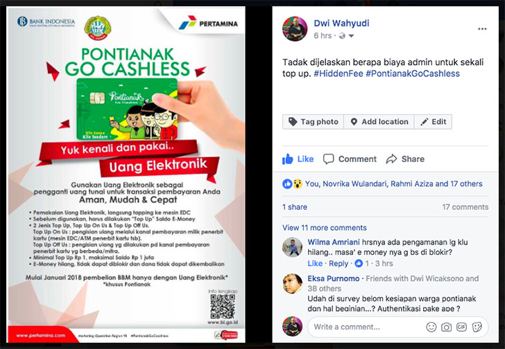 Status di Media Sosial Mengenai Pontianak Go Cashless