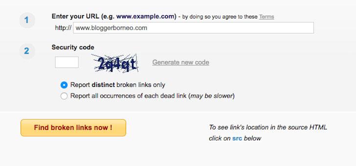 Masukkan Alamat Blog untuk Dicek Broken Link nya