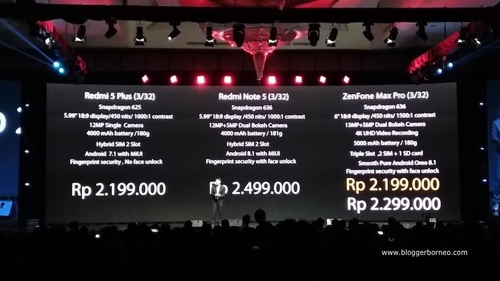 Perbandingan Harga ZenFone Max Pro M1 dengan Redmi Note 5