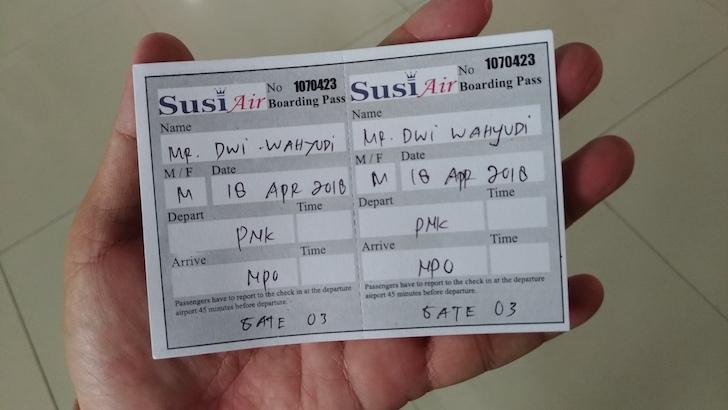 Susi Air Boarding Pass Pontianak Nanga Pinoh
