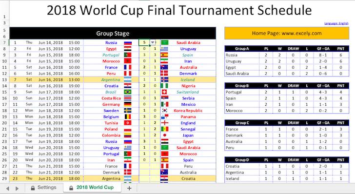 File Excel Template Jadwal Piala Dunia 2018 Rusia